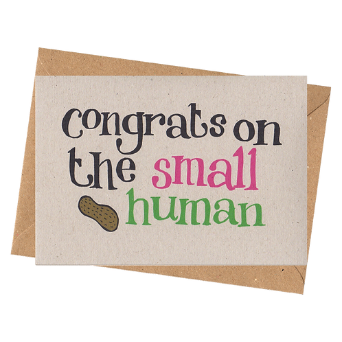 sign & stamp service - new baby card - SMALL HUMAN