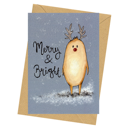 sign & stamp service - luxe Christmas card - The Human Beans - MERRY & BRIGHT
