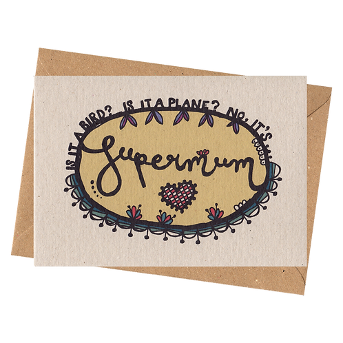 sign & stamp service - mother's day, mum's birthday, thank you card - SUPERMUM