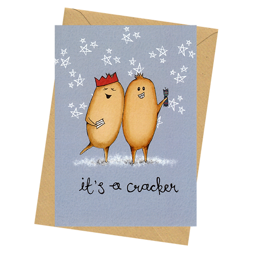 sign & stamp service - luxe Christmas card - The Human Beans - CRACKER