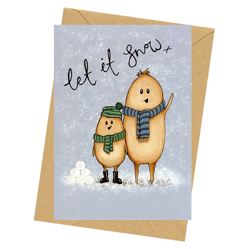 sign & stamp service - luxe Christmas card - The Human Beans - LET IT SNOW