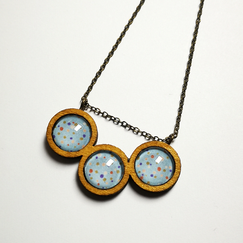 Spotty Dotty Blue coffee wood triptych necklace