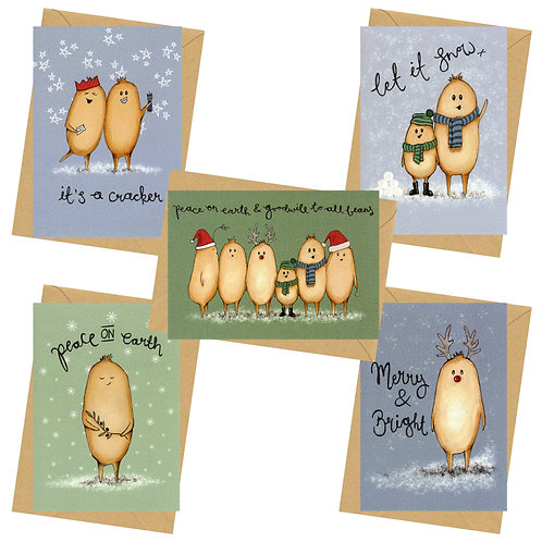Card pack - not sign & stamp - luxe Christmas card - The Human Beans Collection