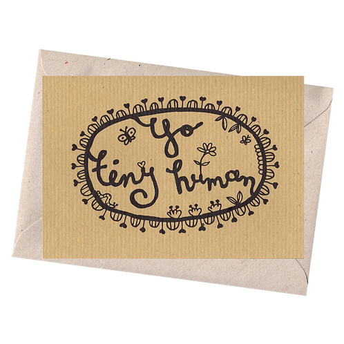 sign & stamp service - new baby card - YO TINY HUMAN