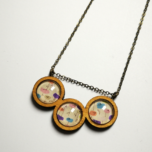 Midcentury Garden coffee wood triptych boho necklace