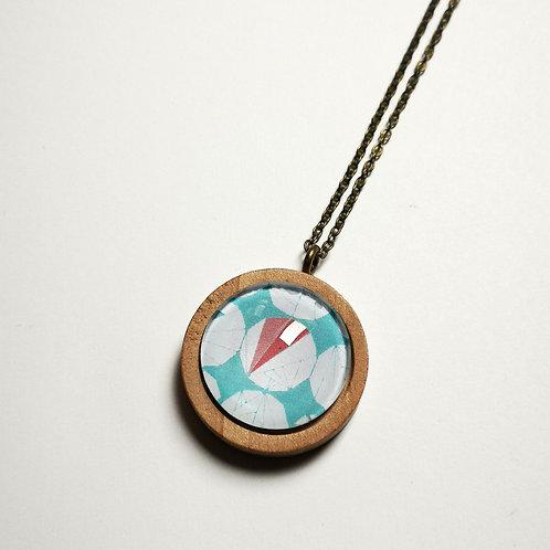 Tennis Geo Pastel natural wood boho long necklace