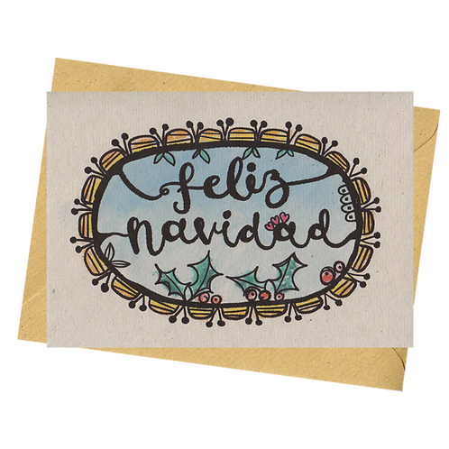 sign & stamp service - Spanish Christmas card - FELIZ NAVIDAD