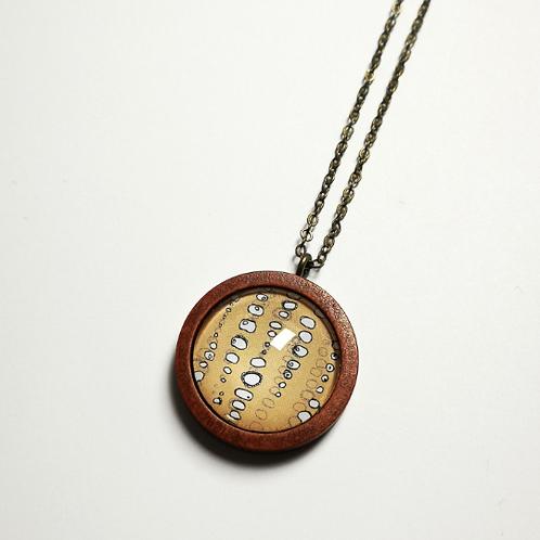 Baitball Bubbles sand cherry wood boho necklace