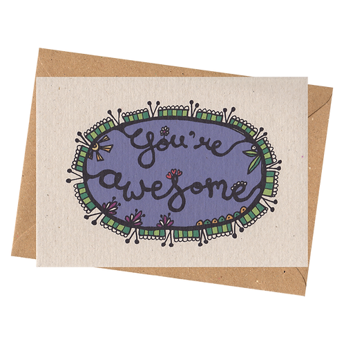 sign & stamp service - thank you card, any occasion - YOU'RE AWESOME