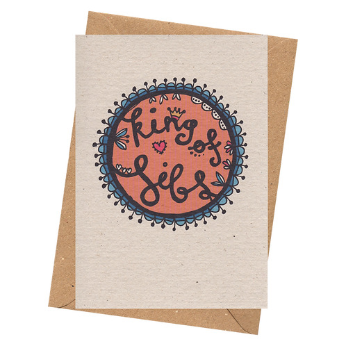 sign & stamp service - brother's birthday, thank you card - KING OF SIBS