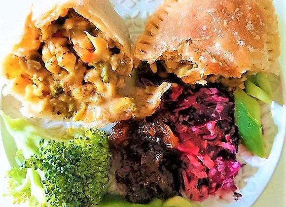 Broccoli, cauli and pasta pie with mature cheddar