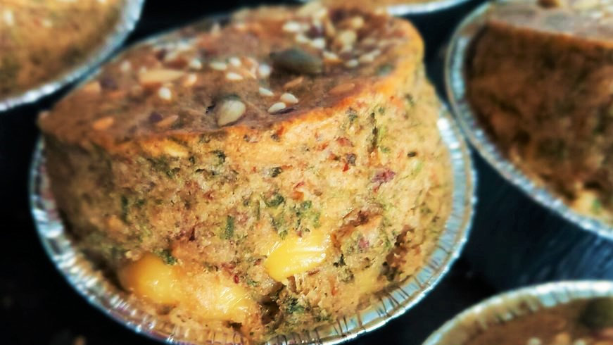 Cauliflower cheese with chives & onions. Box of 4 large muffins.