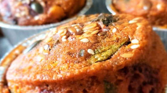 Beetroot, Golden Sweetcorn and Baby Spinach Leaves. Box of 4 large muffins.