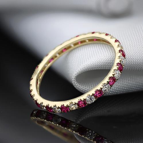טבעת נצח רובי-ספיר לבן