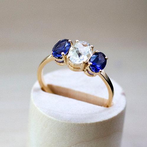 טבעת ספיר לבן וטנזנייט