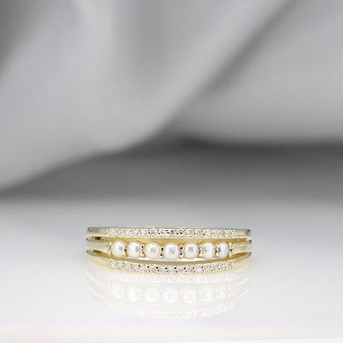 טבעת שלוש שכבות פנינים ויהלומים