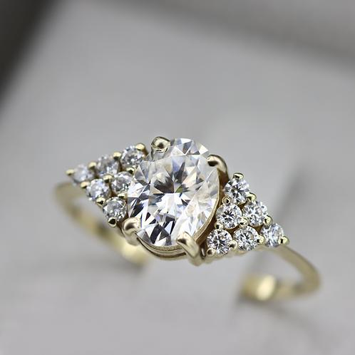 טבעת מוסונייט ארט- דקו 1.45 ct