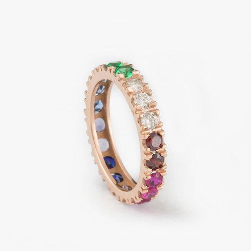 טבעת נצח ריינבו-יהלומים
