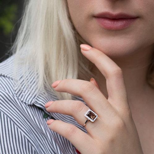 טבעת סמוקי קוורץ ויהלומים