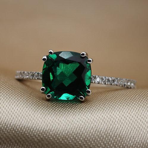 טבעת אמרלד Cushion 8x8