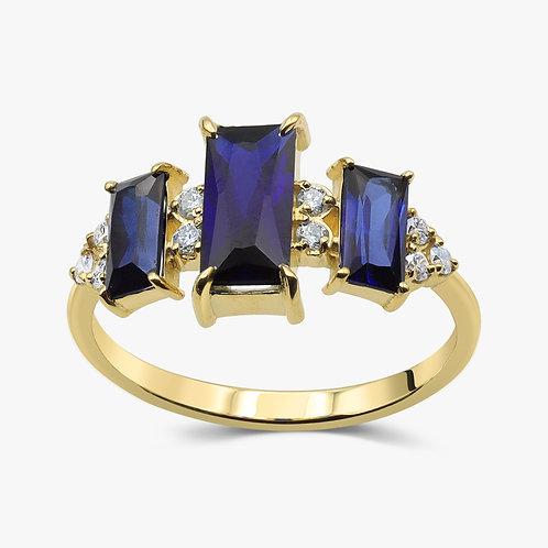 טבעת 3 ספירי בגט ויהלומים