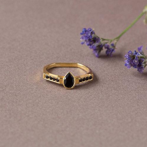 טבעת אוניקס שחור טיפה