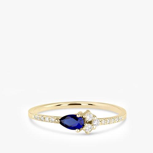 טבעת קלאסטר ספיר ויהלומים