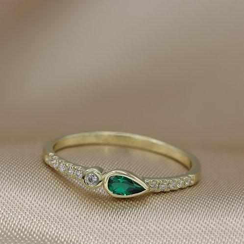 טבעת טיפה אמרלד ויהלומים