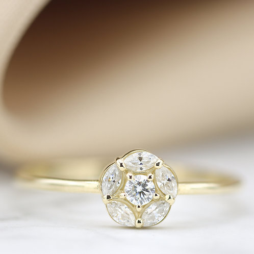 טבעת פרח מוסונייט מרקיזה