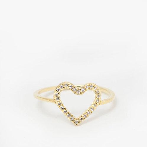 טבעת לב עדינה משובצת יהלומים 0.15ct