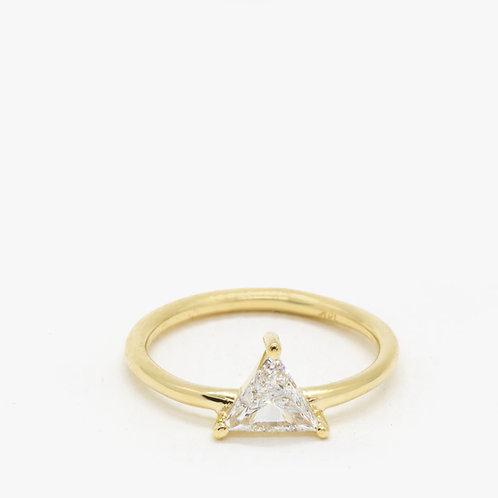 טבעת זהב יהלום משולש 0.42 נקודות