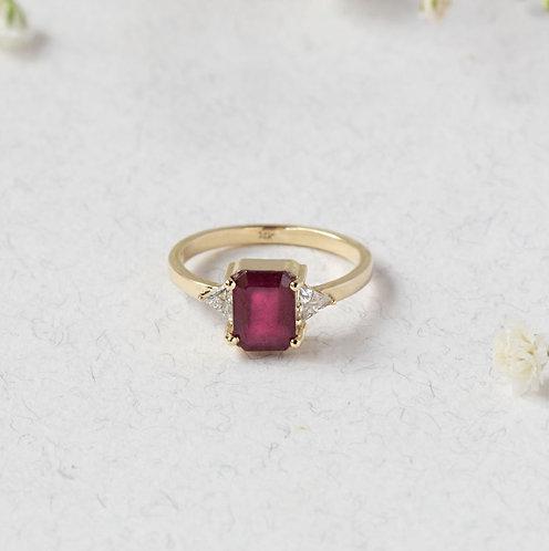 טבעת רובי ומוסונייט