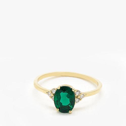 טבעת זהב סוליטר אמרלד