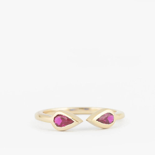 טבעת פתוחה אבני-חן רובי