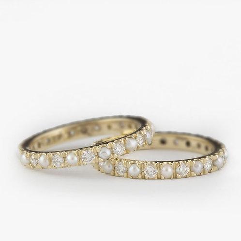 טבעת נצח פנינים ויהלומים
