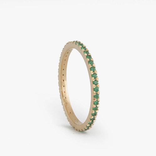 """טבעת נצח עדינה אמרלד 1.25 מ""""מ"""