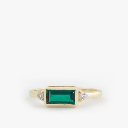 טבעת אמרלד בגט 8x4 ממ ויהלומים