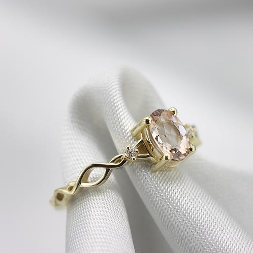 טבעת קלטית מורגנייט ויהלומים