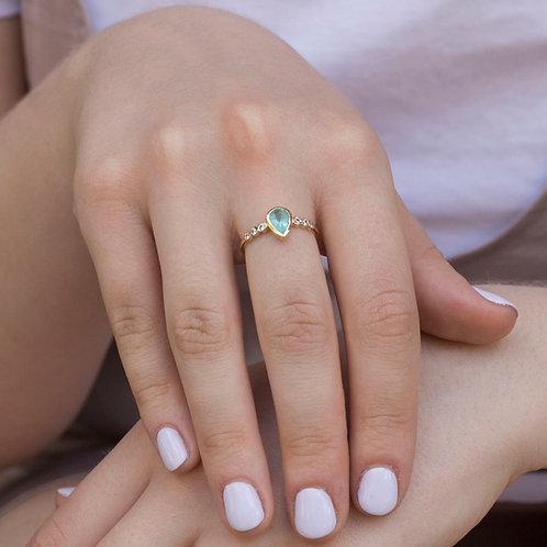 טבעת זהב אבן אפטייט טורקיז ויהלומים