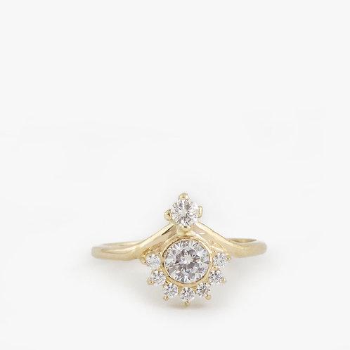 טבעת כתר מוסונייט(יהלום-מטאור) 0.95 קרט