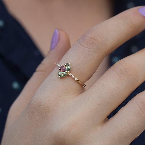 טבעת טורמלינים ויהלומים