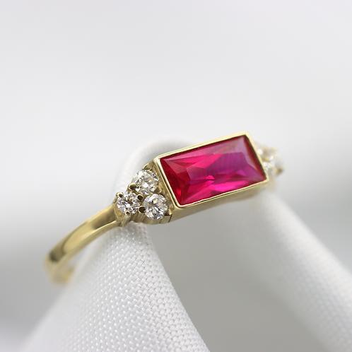טבעת בגט רובי ויהלומים
