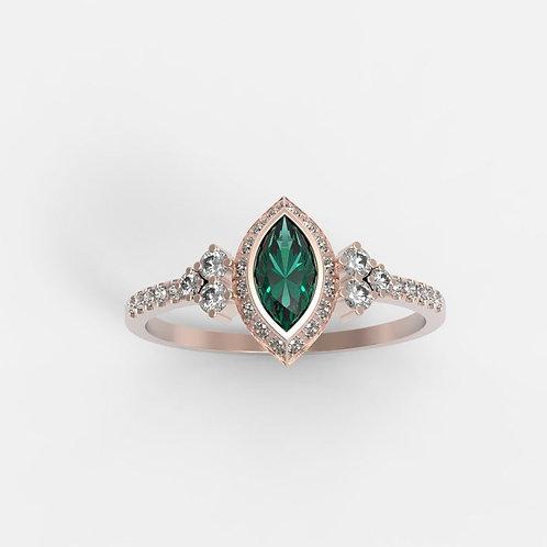 טבעת אמרלד מרקיזה ויהלומים