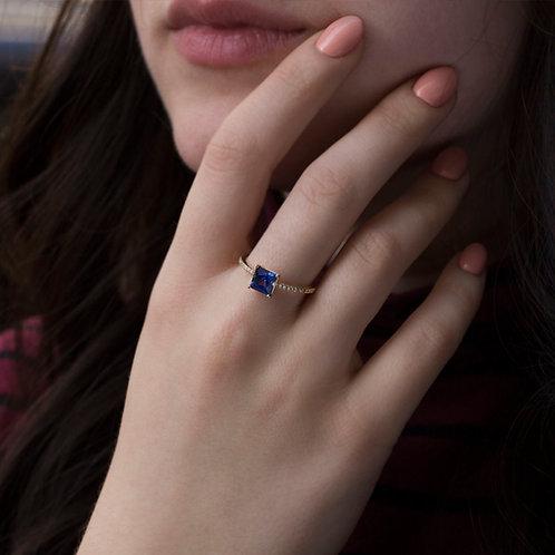 """טבעת סוליטייר ספיר 6 מ""""מ"""