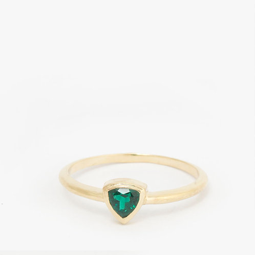 טבעת אמרלד ירוק טריליון 0.42ct
