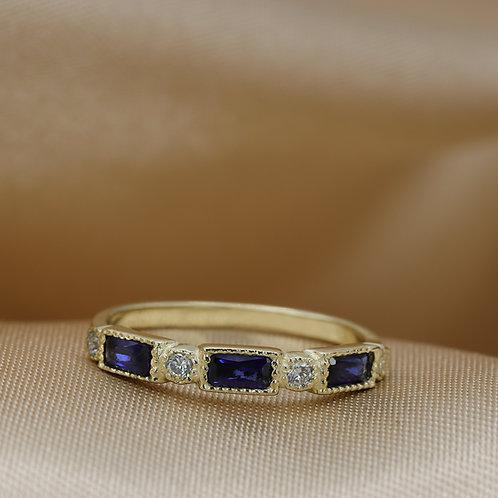 טבעת בגט ספירים ויהלומים