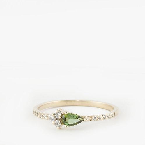 טבעת קלאסטר טורמלין ויהלומים