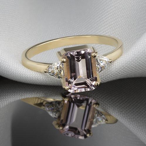 טבעת מורגנייט 1.45ct ומוסונייט טריליון
