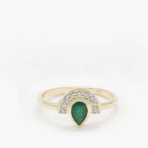 טבעת כתר מניפה אמרלד יהלומים