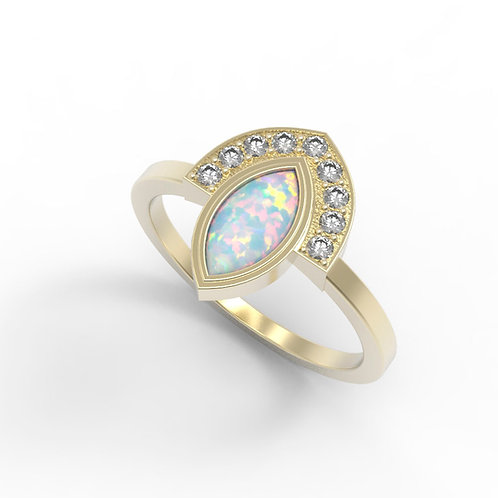 טבעת מניפה אופל לבן מרקיזה